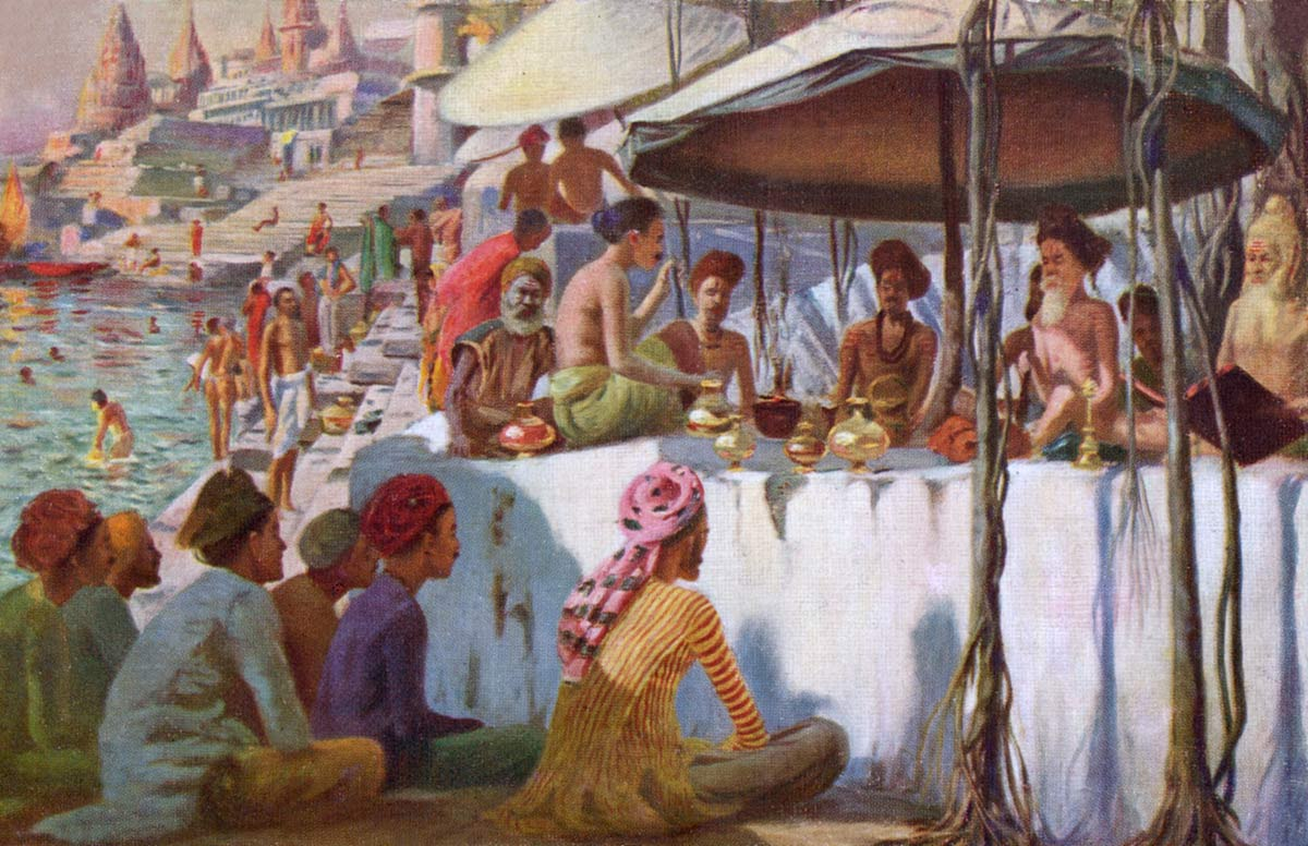 The Fakirs at Benares, On the Bank of the Ganges. India.