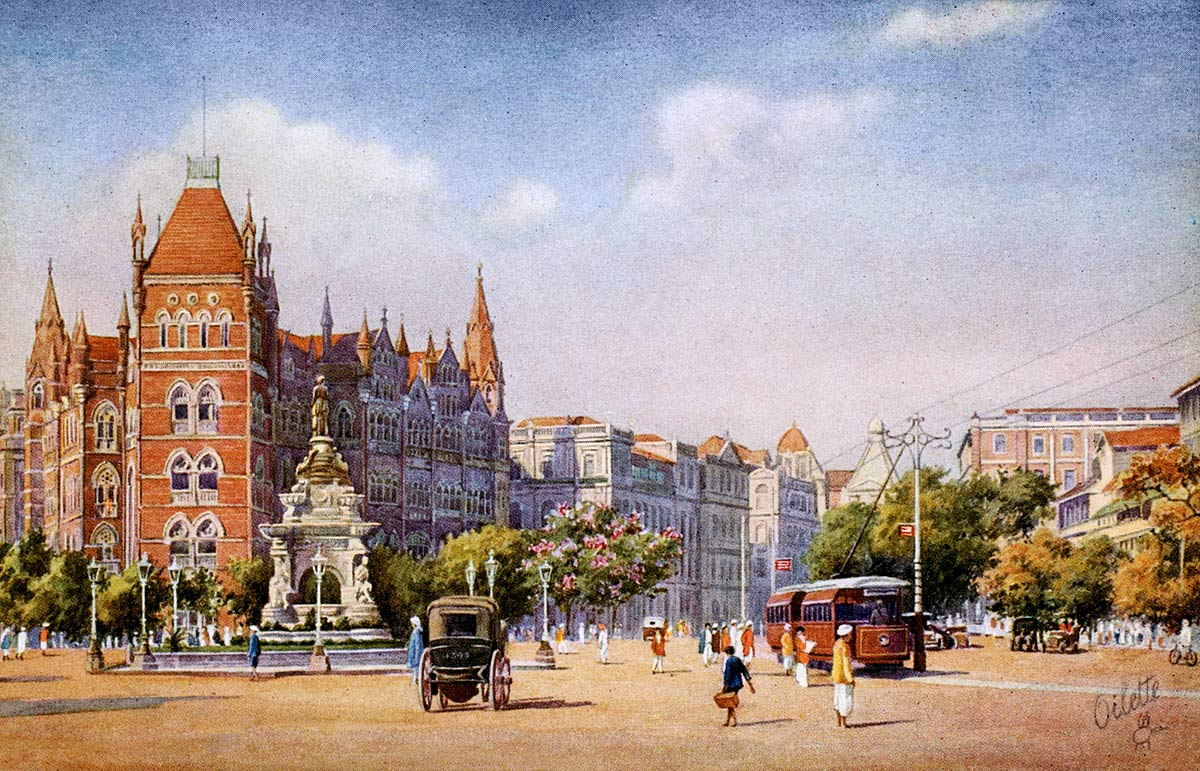 Hornby Road & The Floral Fountain, Bombay.