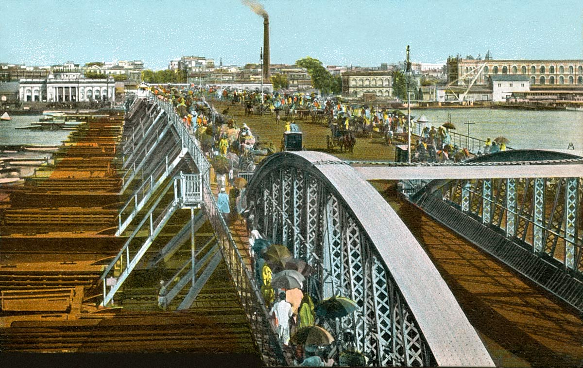 The Pontoon Bridge on the Hooghly. Calcutta.
