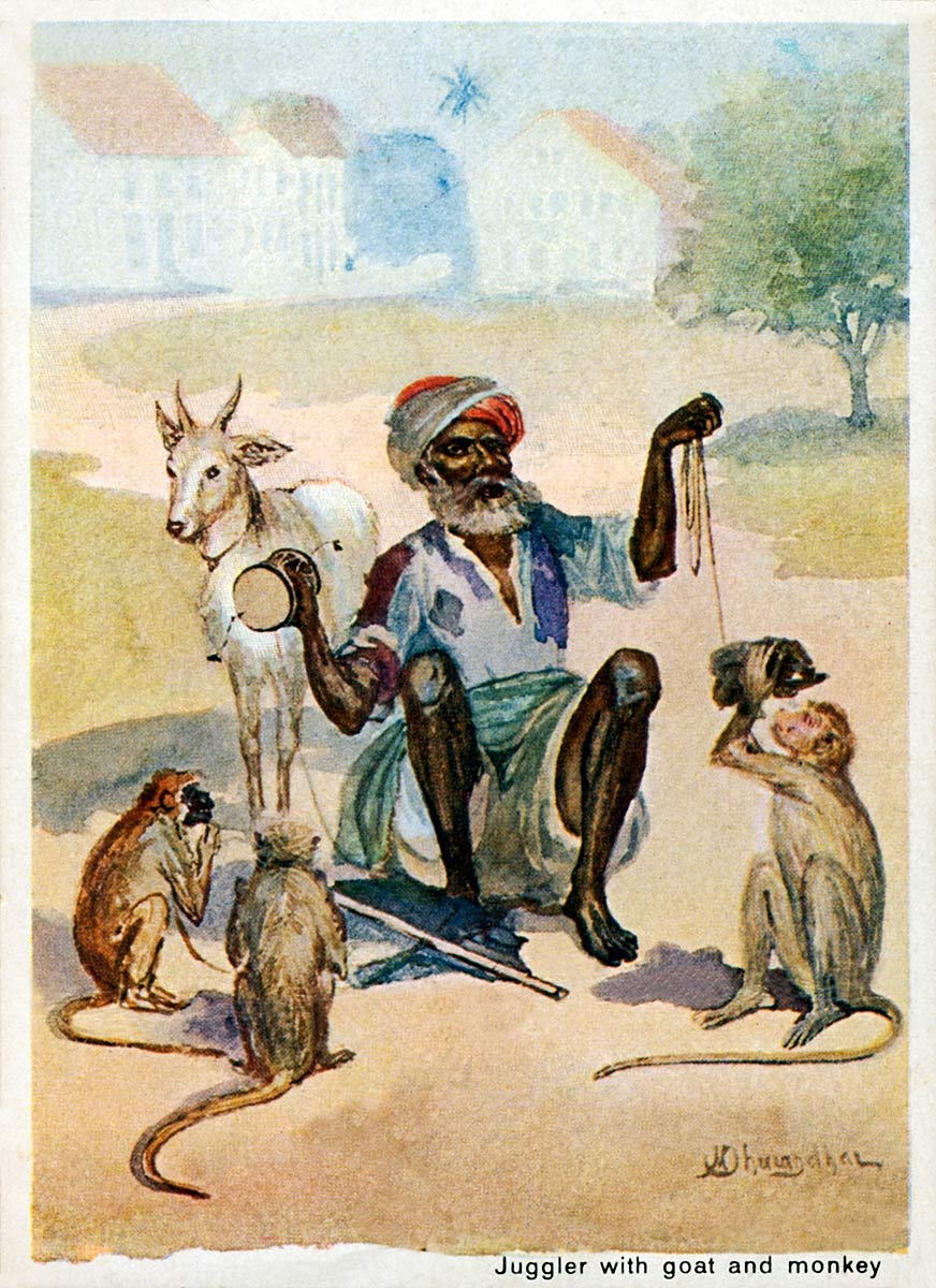 Juggler with goat and monkey