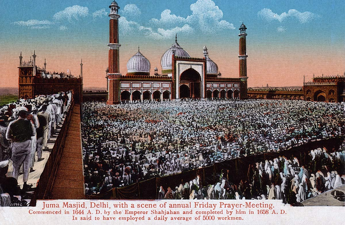 Juma Masjid, Delhi with a scene of Annual Friday Prayer-Meeting
