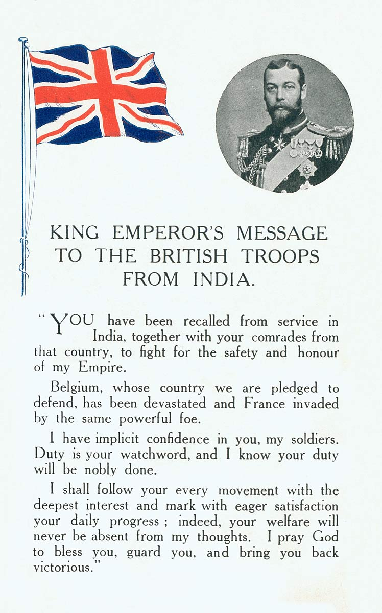 King Emperor`s Message to the British Troops from India.