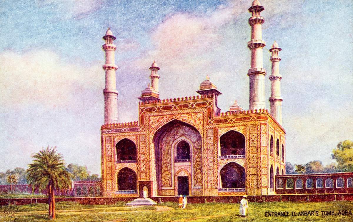 Entrance to Akbar`s Tomb, Agra.