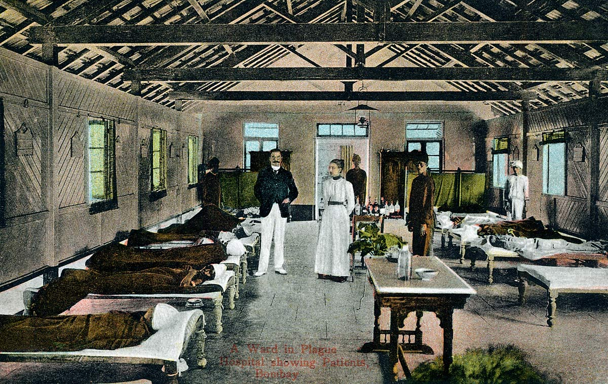 A Ward in Plague Hospital showing Patients, Bombay.