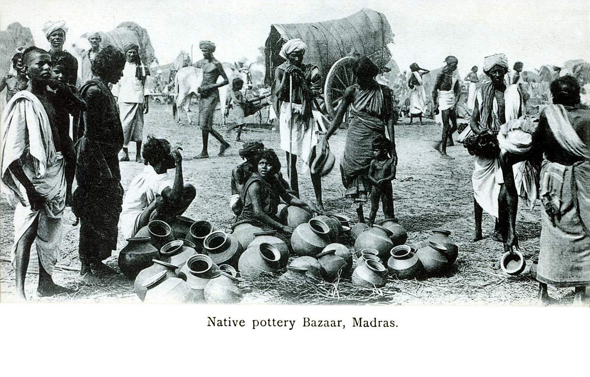 Native pottery Bazaar, Madras