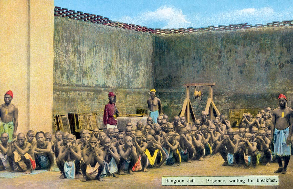 Rangoon Jail - Prisoners waiting for breakfast