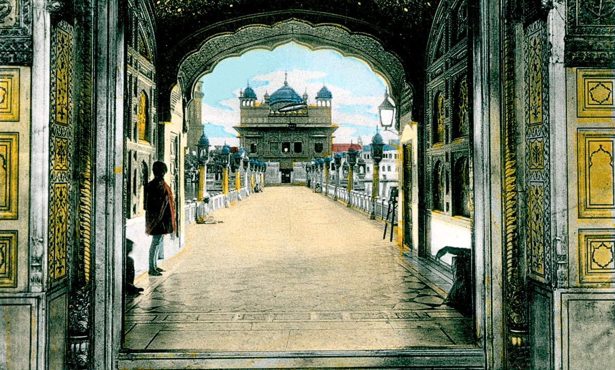 Amritsar. The Golden Temple Gateway and Entrance.