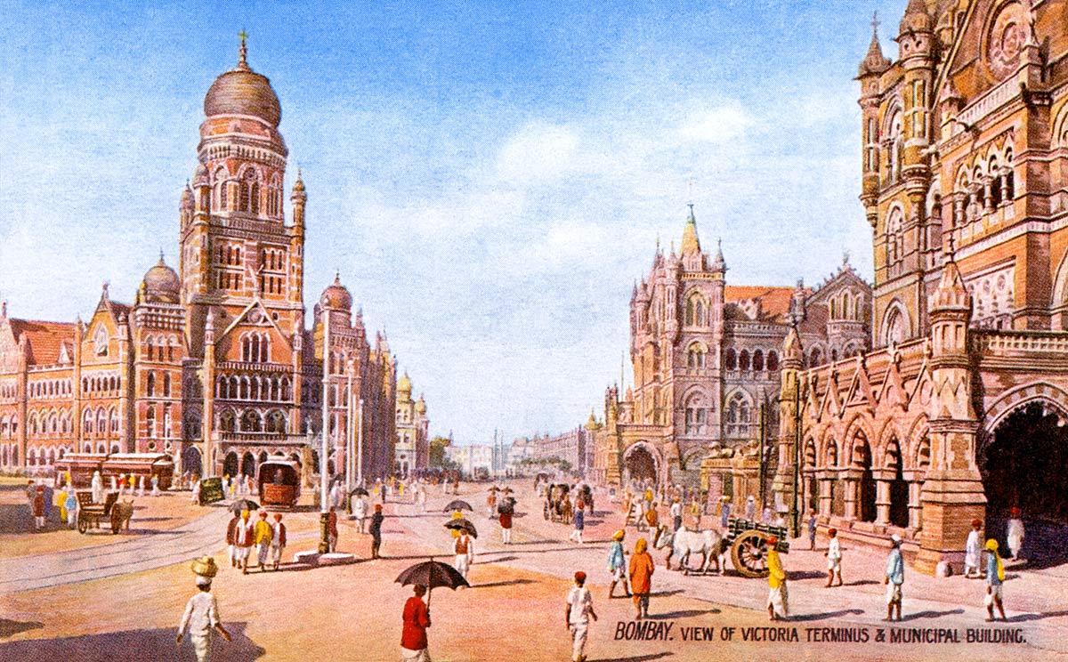 Bombay. View of Victoria Terminus & Municipal Building.