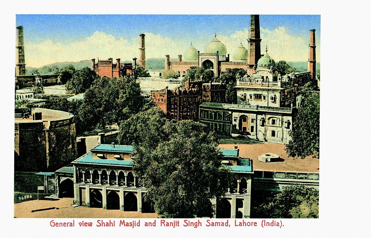 General View Shah Masjid and Ranjit Singh Samad, Lahore (India)