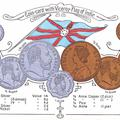 Coin-card with Viceroy-Flag of India