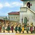 Rangoon Jail - Prisoners carrying out their breakfast